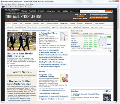 Vitality on the WSJ Home Page