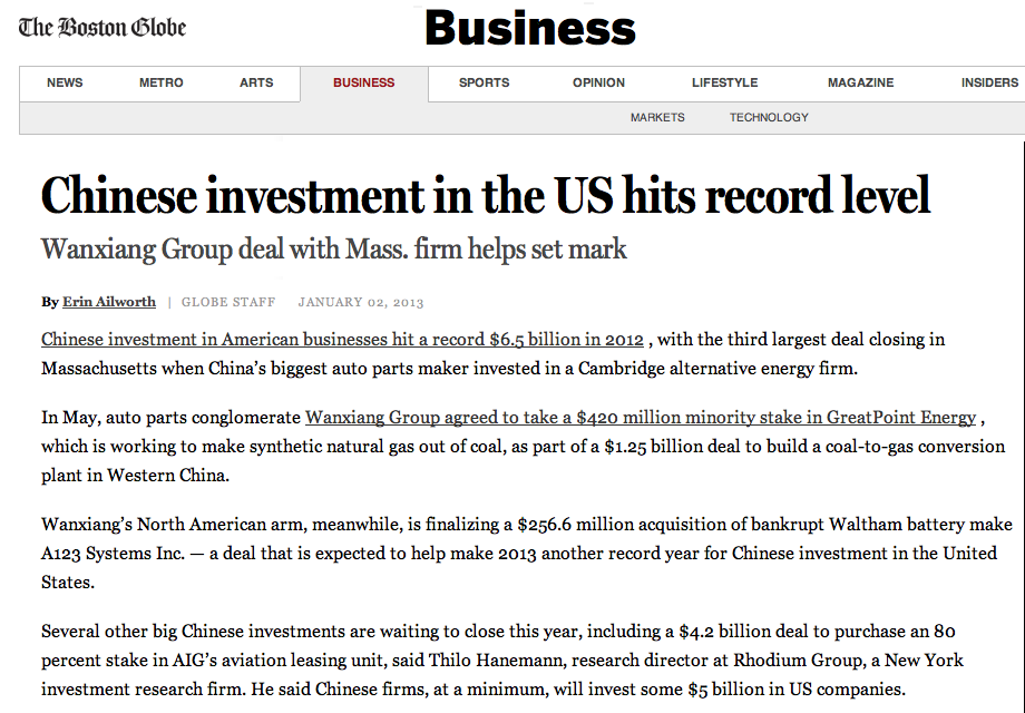 The Boston Globe, GreatPoint Energy, 1.02.2013
