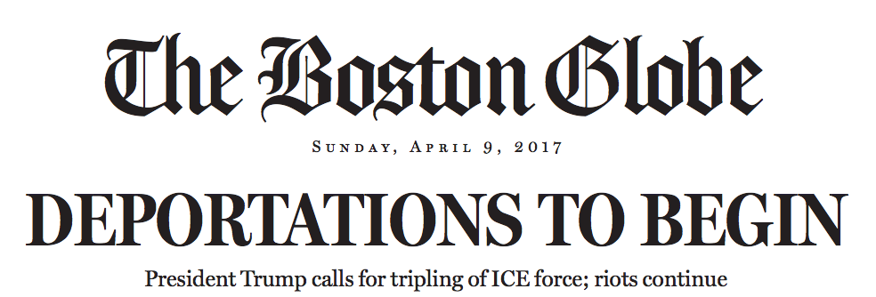 Donald Trump hypothetical Boston Globe front page